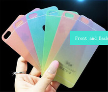 For iPhone 66S 6PLUS Screen Protector Gradient Color Tempered Glass Rainbow Glitter Powder Front and Back full body Mask Film