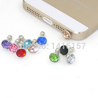 Гаджет  High quality rhinestone Dust Plug Universal 3.5mm Cell phone plug Color Random None Телефоны и Телекоммуникации