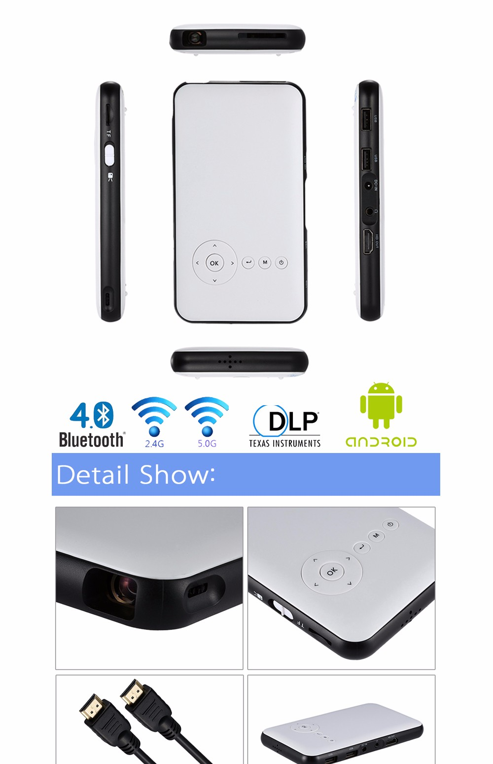 Portable Mini DLP Projector Wifi Smart LED Projectors Wireless HDMI Output Android Smartphone Projector with 1G/8GB