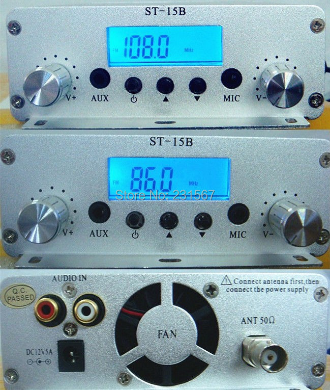 Hot sales! 15 watt pll FM transmitter FMU SER ST-15B with 86MHz-108MHz-100khz(China (Mainland))