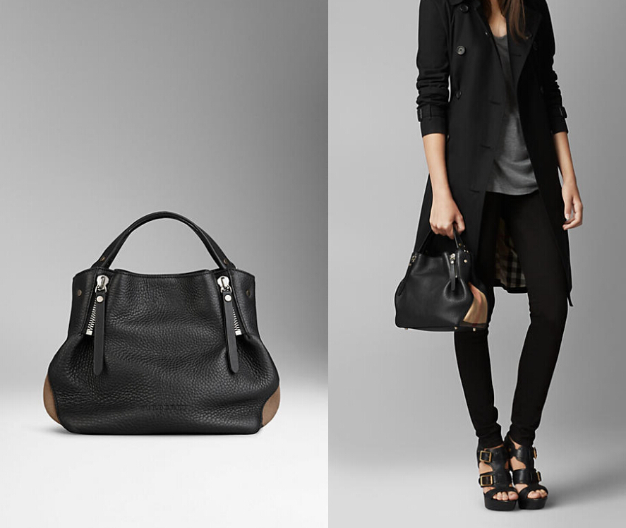 Burberry Small Check Detail Leather Tote Bag