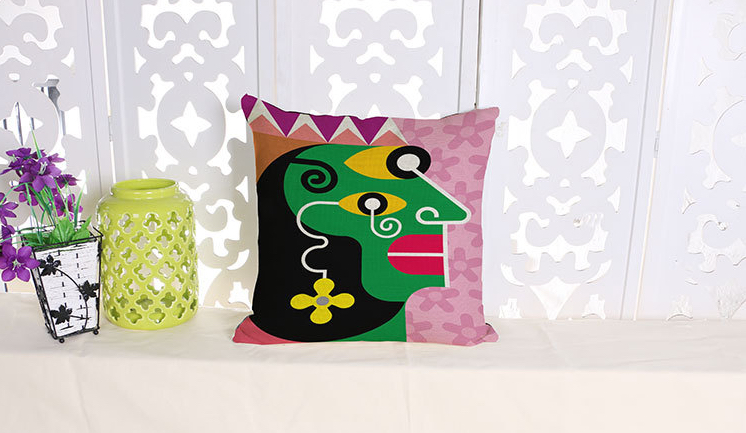 The green magic abstract art queen emoticon throw emoji body neck pillow massage euro case cover decorative pillows tattoo(China (Mainland))