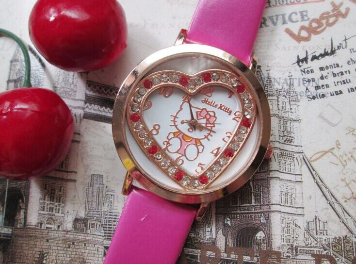 2015 New Brand Fashion Leather Strap Quartz Cartoon Watch Hello Kitty Watches For Children Kids Dress Women Wristwatches Pink<br><br>Aliexpress