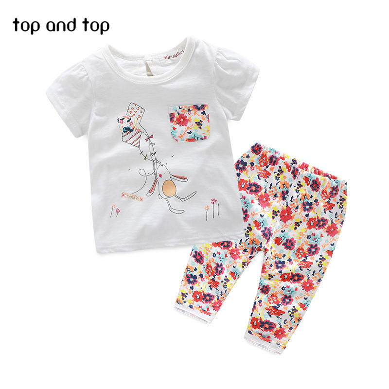 (GOOD QUALITY) Cotton Cute Cartoon Baby Clothes Sets Summer Girls Clothing Sets Baby Girl Clothes Set Short Sleeve and Pants(China (Mainland))