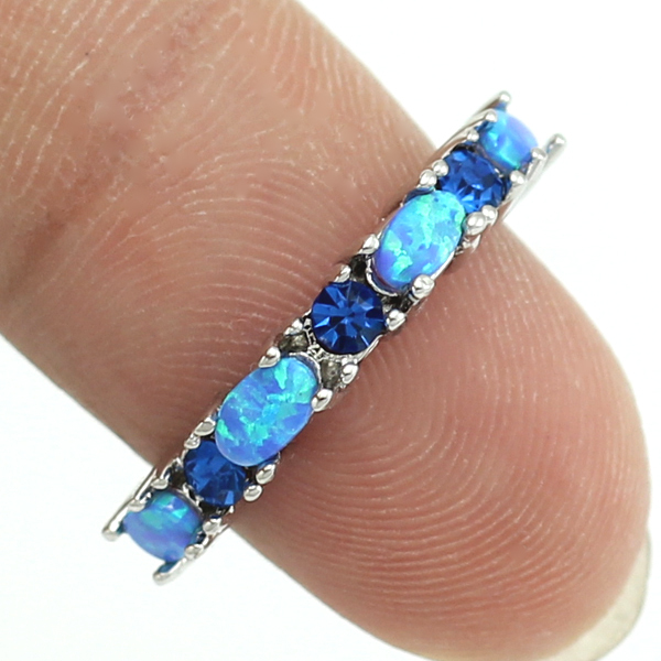 2016 New Style Unusual Blue Fire Opal Crystal Fashion Jewelry Women Rings Free Shipping Sz 5 6 7 8 9 10 OR822 Free Gift Box(China (Mainland))