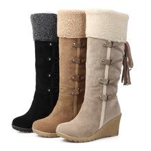 2017 Venta Caliente Botas Femininas Mujeres Botas de Invierno 7 cm de Alto zapatos de tacón Alto Rodilla Botas de Señora Shoes Negro Beige Amarillo Nieve botas(China (Mainland))