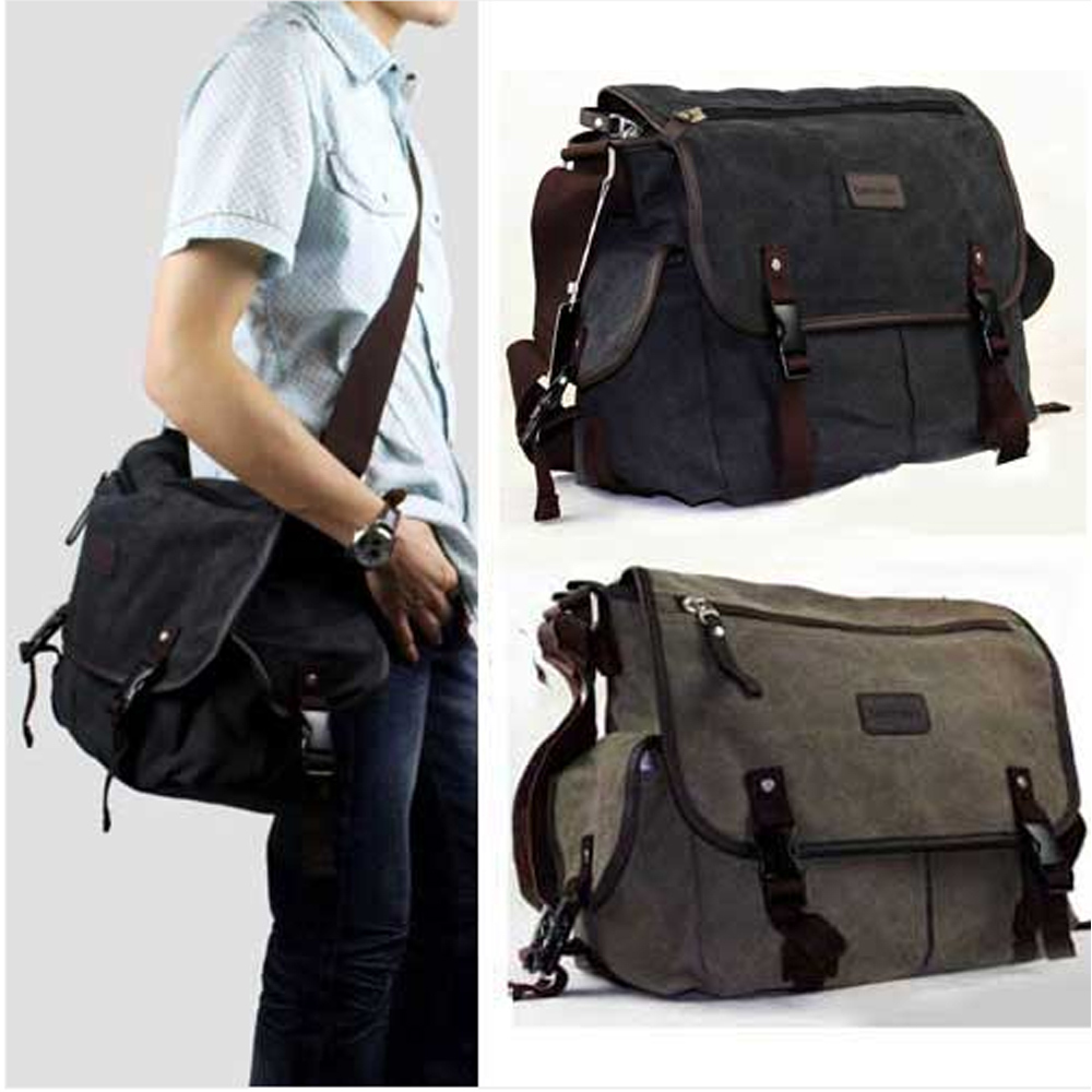 Men Messenger Bags Canvas Vintage Bag Men Shoulder Crossbody Bags for Man Brown Black Small Bag Designer Handbags F20M013#Y6(China (Mainland))