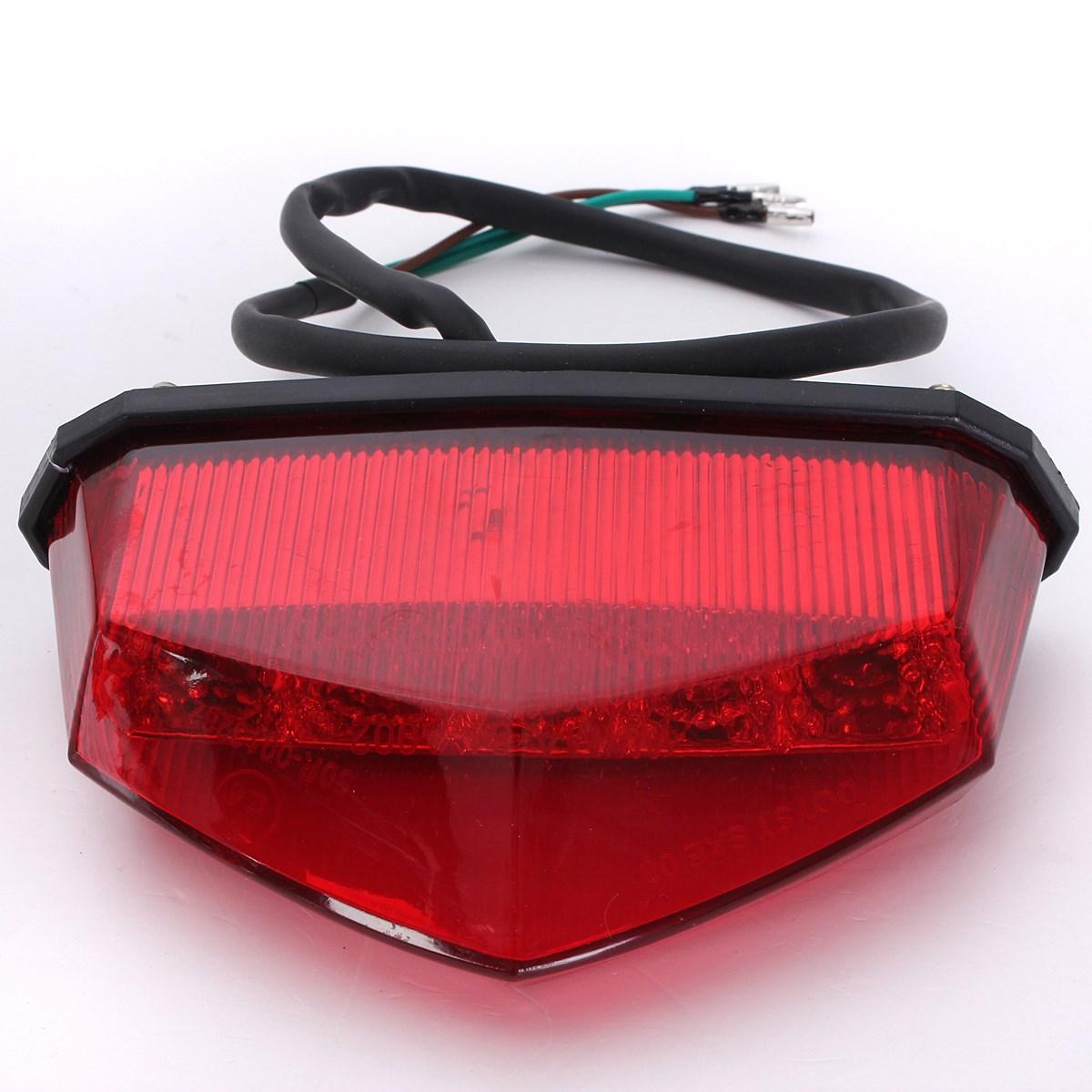 Audew 12V 3 Wiring Universal 10LEDs Red Motorcycle Dirt Bike Plate Lamp Rear Tail Brake Light