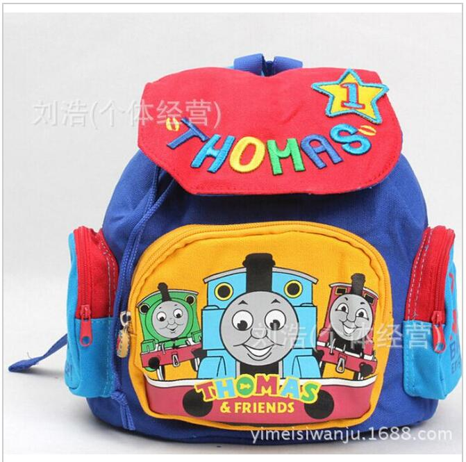 Free Shipping canvas cotton thomas backpack thomas bags boys kids schoolbag kindergarden bag in stock(China (Mainland))