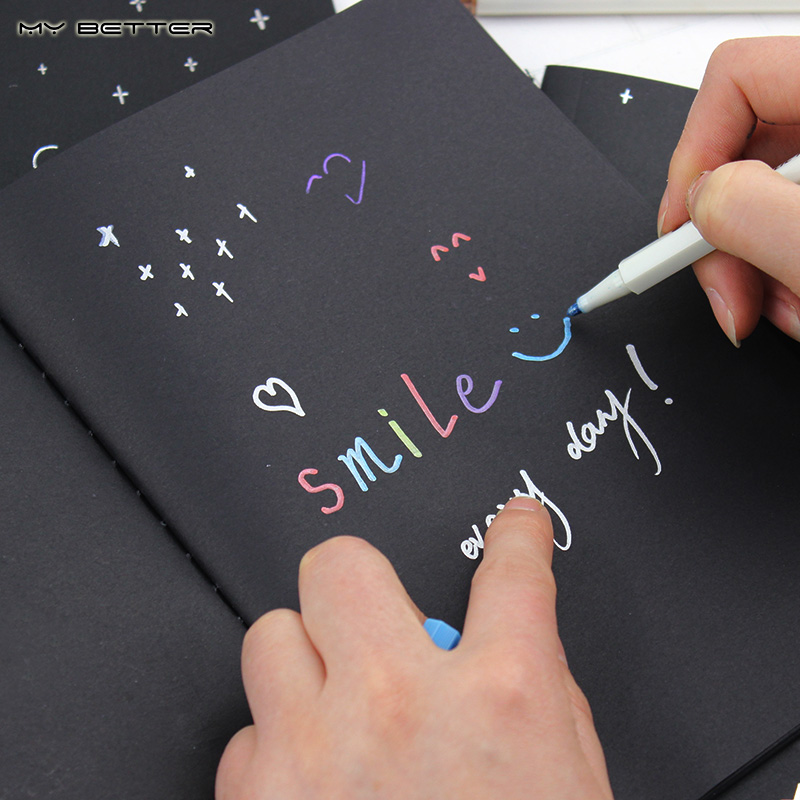 New 32K Office Notepad Paper Diary Notebook Drawing Blank Black Sketch Painting