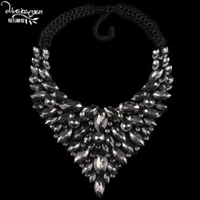 Dvacaman 2016 V Shaped Rhinestone Necklace&Pendants Water Drop Crystal Statement Necklace Women Choker Collar Custom Jewelry A21(China (Mainland))