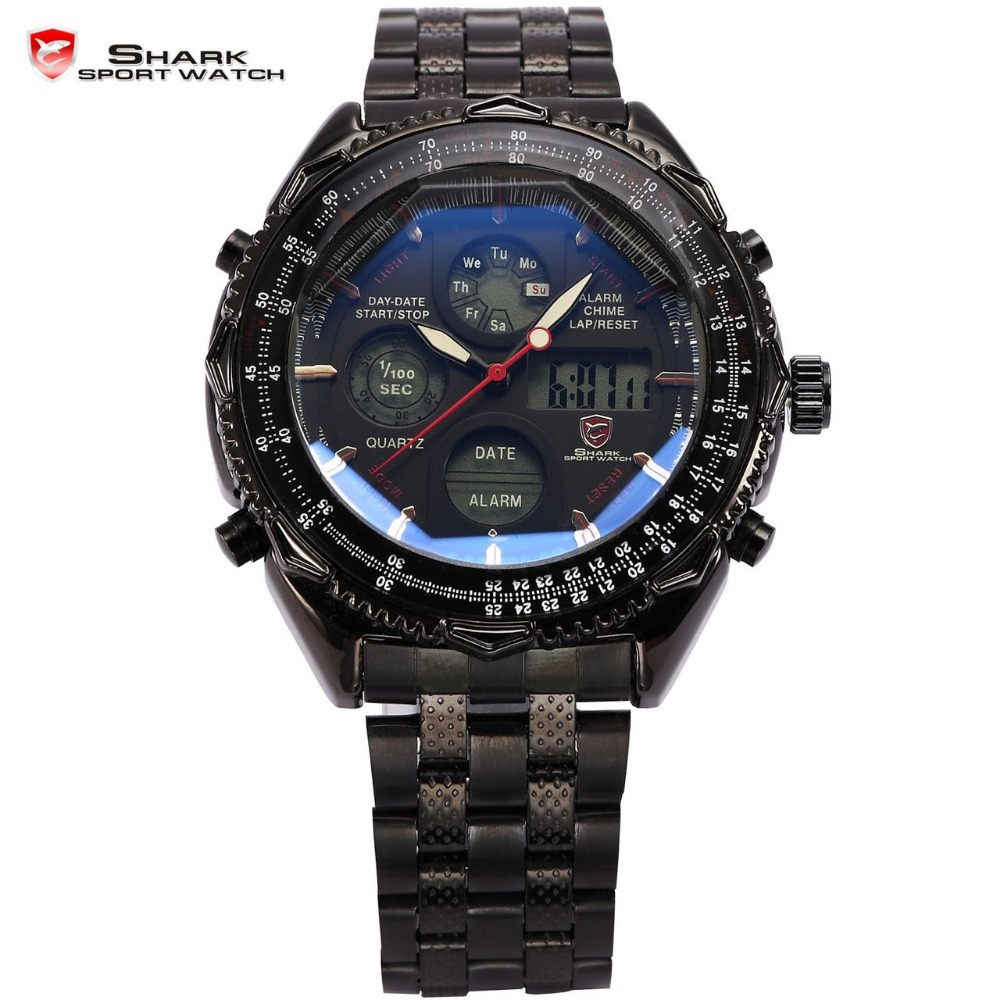 shark digital watches lcd stainless steel relogio