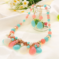 Sheegior Newest Trendy Elegant noble water-drop women chokers necklace and earring Statement Jewelry Free shipping