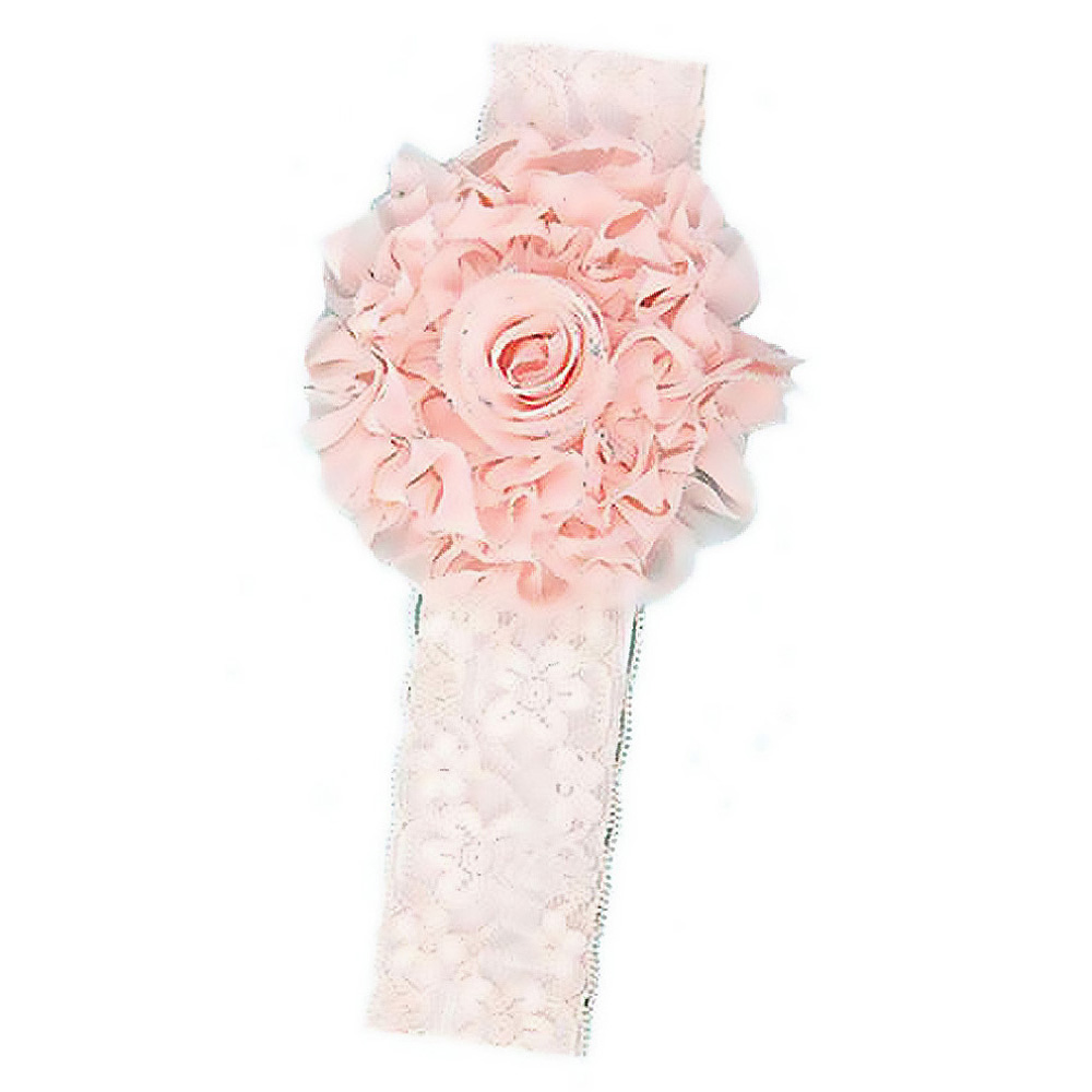 High Quality New Lace Baby Headband Little Girl With Glitter Flower - orange pink(China (Mainland))