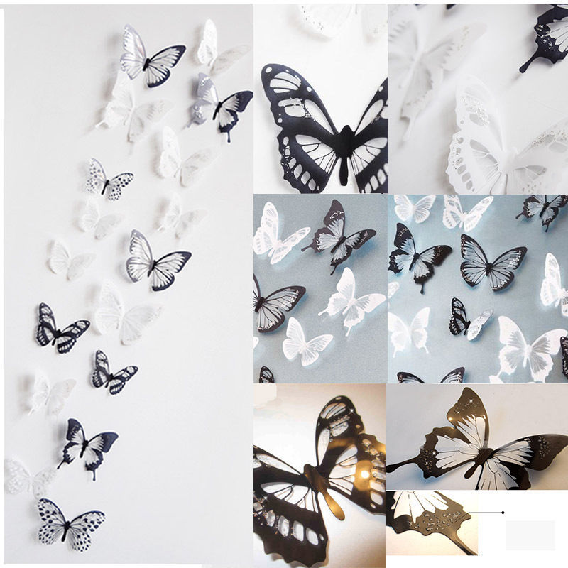18 Pieces 3D Butterfly Crystal Transparent Decor Sticker Home Decoration Accessories Wall Art For Kids Rooms Decals New(China (Mainland))