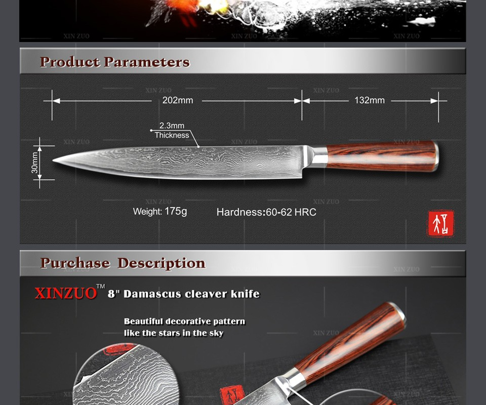 "Buy NEW  8"" inch cleaver knives Japanese VG10 Damascus steel kitchen  slicing/Carving knife wood handle FREE SHIPPING cheap"