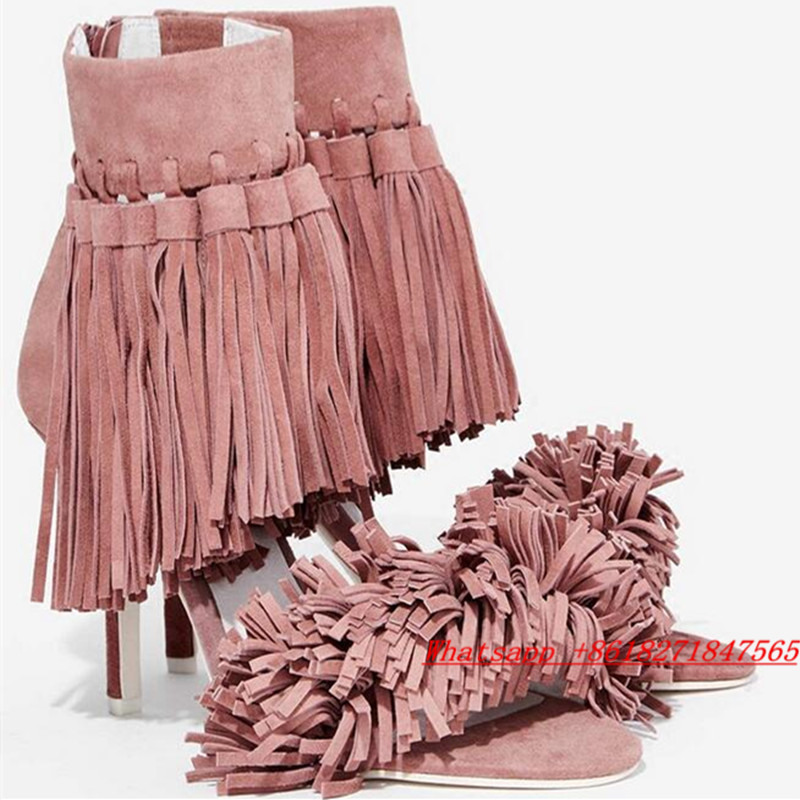Swing Inaba Heels Pink&Black Ankle Strappy Fringe Tassel Gladiator Sandalias Nice Booties Designer Party Women Shoes High Heels(China (Mainland))