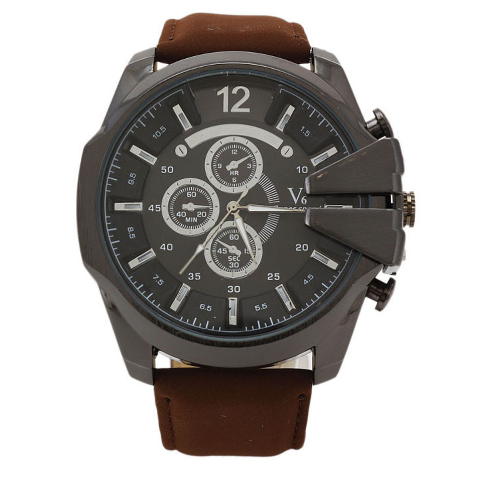 Relogio V6 Mens Watches Luxury Casual Leather Strap Watches 2015 Mens Top Brand Luxury Wristwatches Relogio Masculinos<br><br>Aliexpress