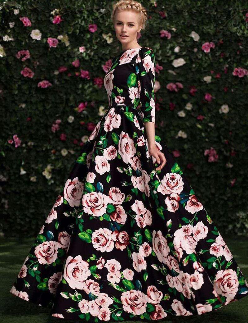 Long dress designs printed or floral