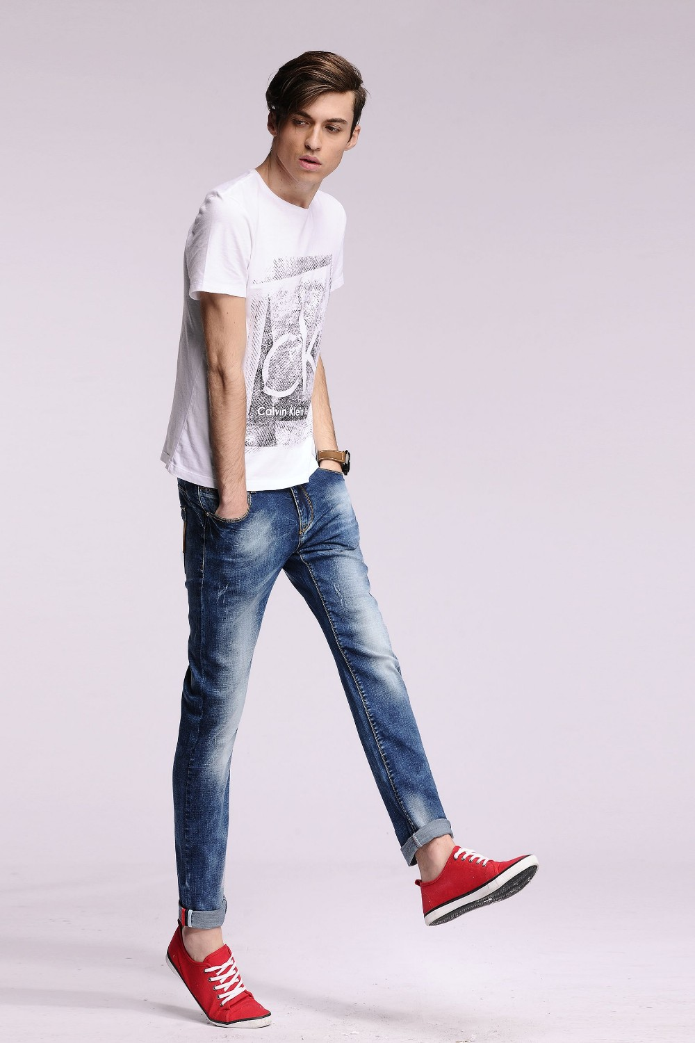 2016 new arrival men designer skinny  ripped jeans homme mens biker Slim Cotton jeans straight Light blue28-36#YZ6605