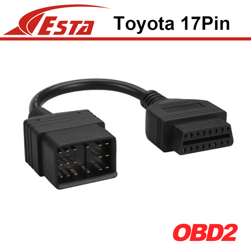 High Quality Toyota 17pin cable OBD1 to obd2 16pin lead diagnostic interface 17 pin OBDII extension cord lead With Free Shipping(China (Mainland))