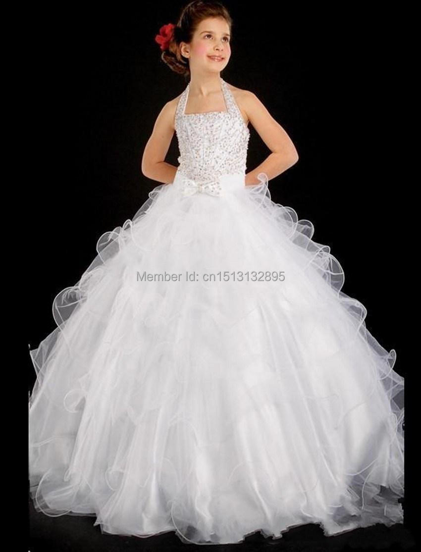 2015 Princess White Jewel Neck Flower Girl Dresses Ruffles A-Line Satin Organza Cheap Girl Dress For Wedding Dresses(China (Mainland))