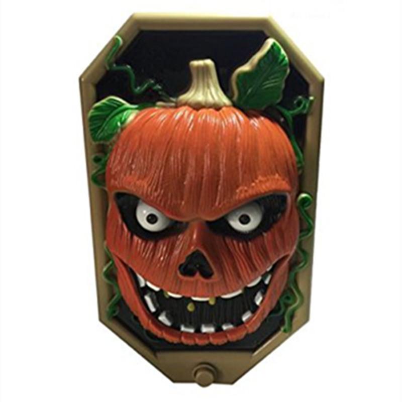 Vibelite Halloween Pumpkin Spooky Door Bell LED Flashing Scary Sounds Trick or Treat Spider Jack O Lantern Decoration Light(China (Mainland))