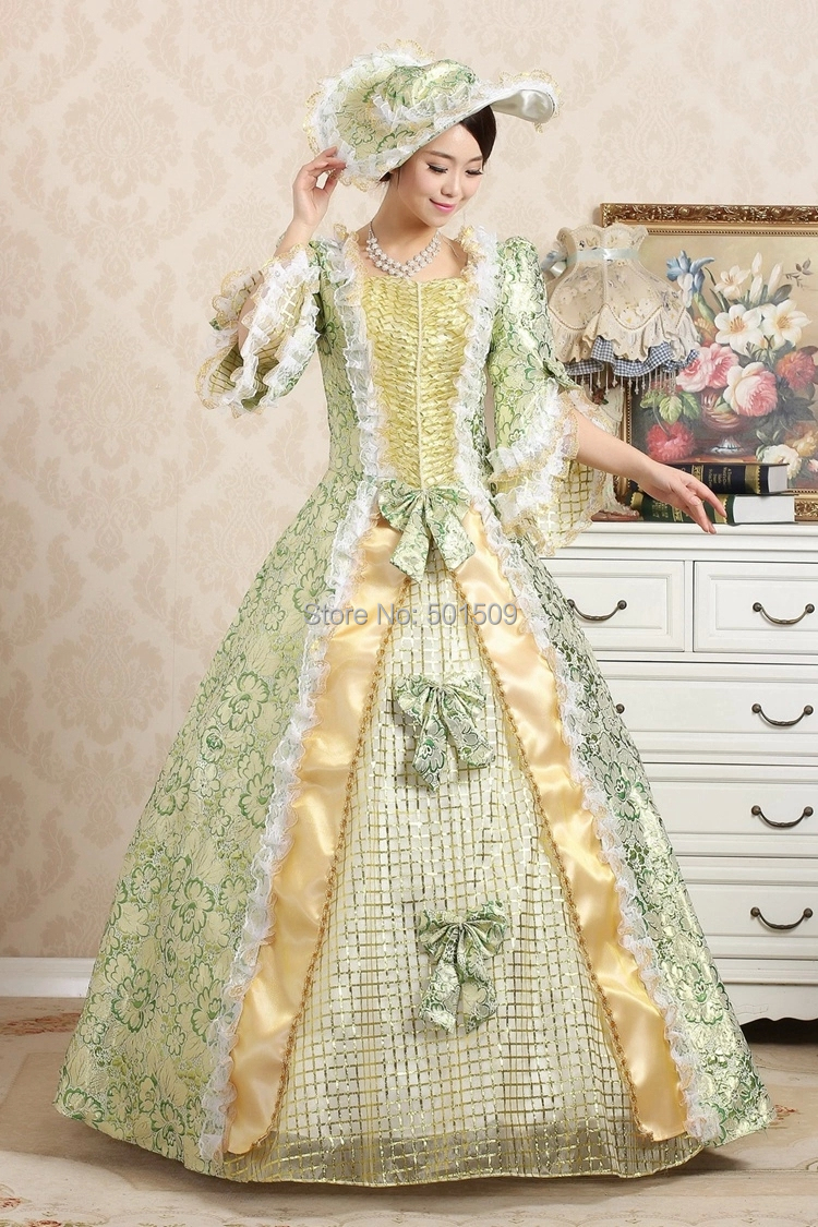 green medieval with hat Renaissance Gown queen dress Costume Victorian Gothic/Marie Antoinette/civil war/Colonial Belle BallОдежда и ак�е��уары<br><br><br>Aliexpress