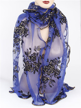Free Shipping Wholesale 2014 New Products Hot Selling Chiffon Flower Long Soft  Silk Rayon Scarf  Wrap Shawl Stole For Women(China (Mainland))