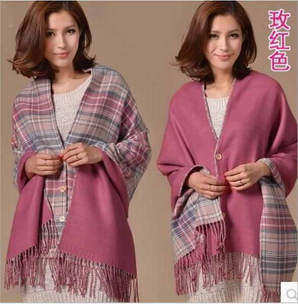 Scarves Wraps 2015 Fashion new double-sided buckle England plaid scarf warm shawl dual air conditioning multifunction office A14(China (Mainland))