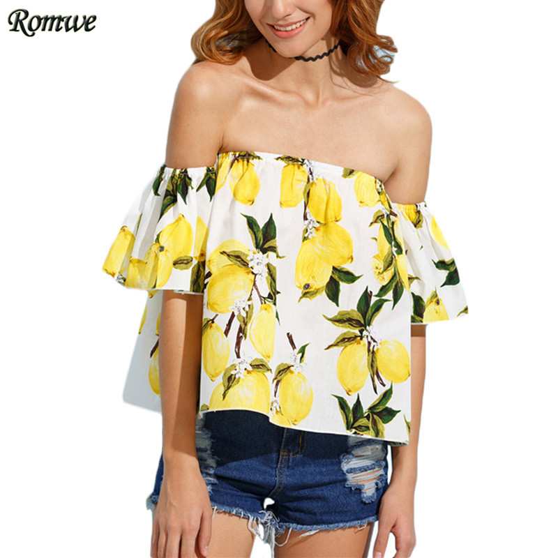 ROMWE Woman Yellow Lemon Print Off The Shoulder Blouses Womens Summer Fashion Tops Short Sleeve Ruffle Crop Blouse(China (Mainland))
