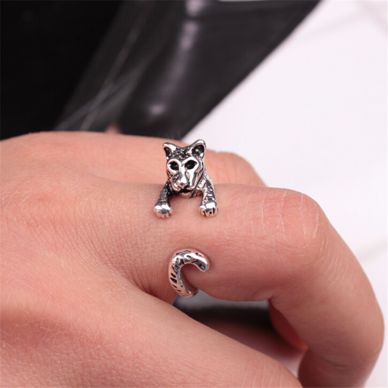 E088 2016 new fashion Creative alloy ring opening animal 3 d tiger leopard rings(China (Mainland))