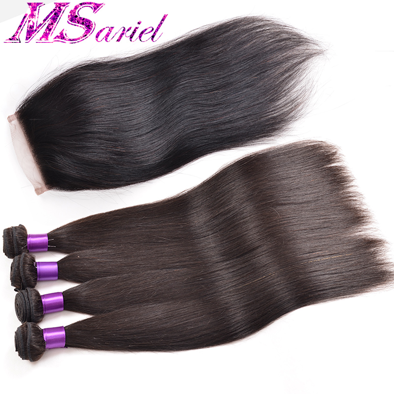 Peruvian Virgin Hair Straight With Lace Closure 4 Bundles Peruvian Virgin Hair With Closure Unprocessed Human Hair With Closure