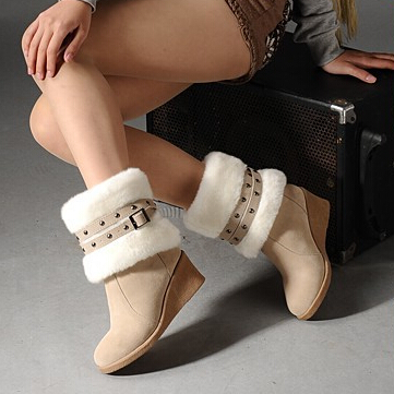 Гаджет  [4 Colors] New 2015 Fashion Women Snow Boots Wedges Slip-On Women Winter Boots Shoes Popular Style SB0001 None Обувь