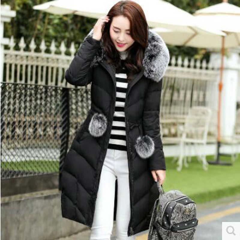 European new 2016 winter fur collar thickening long Cotton jacket women slim hooded plus size down cotton jacket coat AE946(China (Mainland))