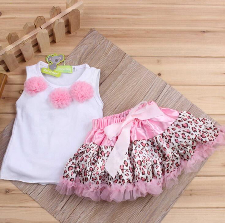 2pcs Baby Girls Kids Leopard Tutu Dress Flowers Top+Skirt Leopard Outfits Clothes infantil atacado roupas bebe photo, vestidos(China (Mainland))