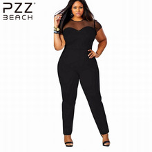 L XL XXL XXXL Sexy Mesh Overalls Patchwork Rompers O-neck Big Yards Short Sleeve Fashion Long Playsuits Jumpsuit Pants Bodycon