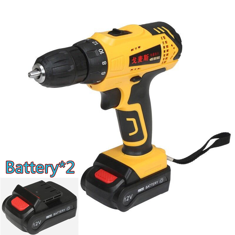 12v Household Lithium Battery*2 Waterproof cordless Electric Drill bits Electric screwdriver home Wrench hammer drill power tool(China (Mainland))