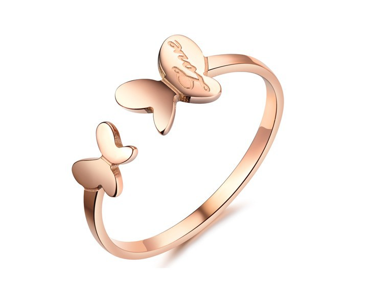 Rose Gold Plated Open Style Unique Cute butterfly Rings For Women Titanium Steel size 4-9 wide 7.2mm weight 1g(China (Mainland))