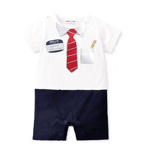 Toddler Baby Kid Boy Summer Clothing Casual Bow Tie Bodysuit Romper Jumpsuit(China (Mainland))