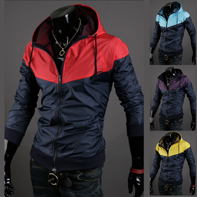 Fashion sports 2014 with a hood outerwear autumn thin slim sports jacket male casual trend of the jacket(China (Mainland))