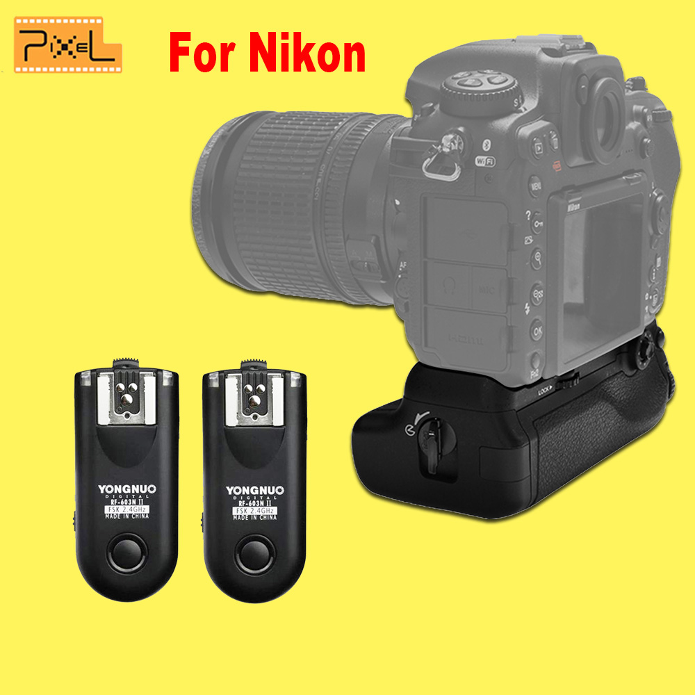 Newest Pixel Vertax D17 Professional Battery Grip & Yongnuo RF-603 II N1 Radio Wireless Remote Flash Trigger For The Nikon D500(China (Mainland))