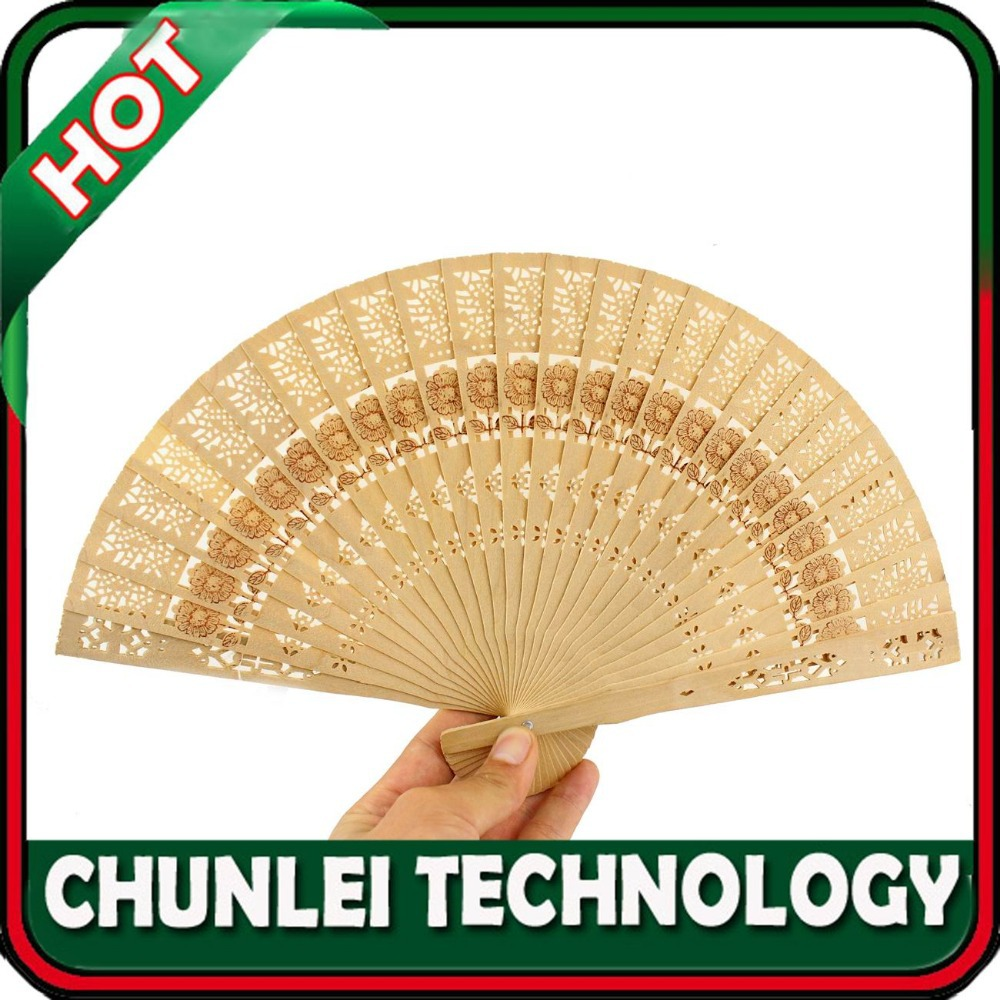 Chinese Vintage Oriental Pierced Carved Foldable Folding Wooden Wood Hand Fan(Hong Kong)