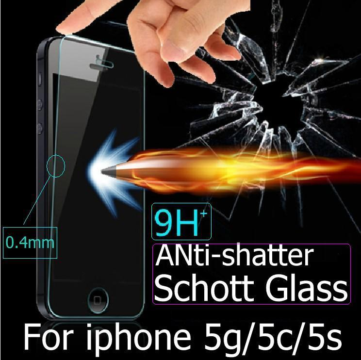 QCC 2PCS ultra-thin best Premium Tempered Glass Films For iPhone 5 5S 5C With 1pcs Anti-shatter Screen Protector +retail Package(China (Mainland))