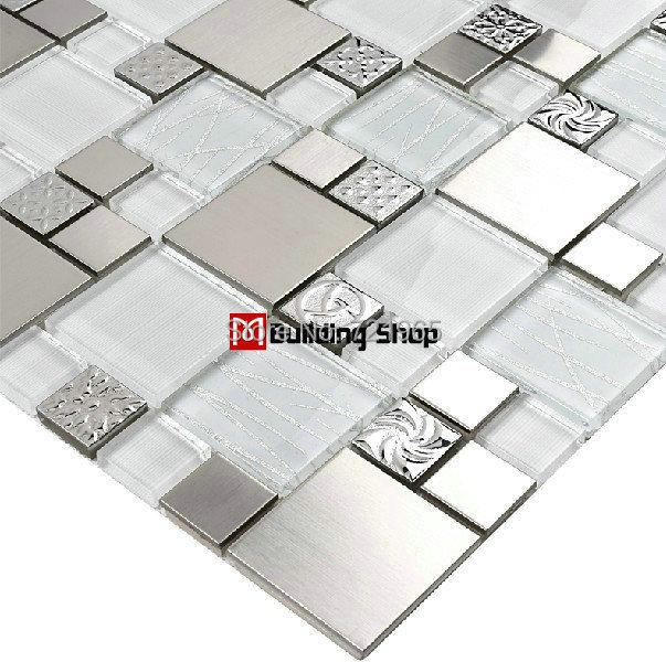 glass mosaic tile backsplash ssmt110 silver metal mosaic
