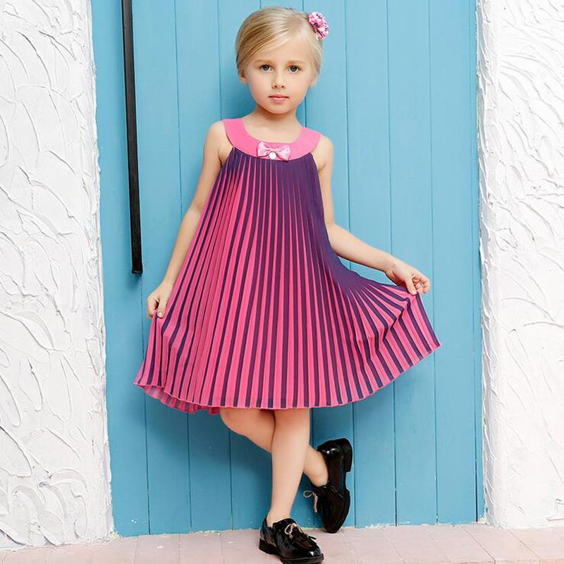 Summer 2016 Girls Dresses for Girls Chiffon Gradient Bow Kids Clothes Princess Party Dresses Children Costumes 2-10Y(China (Mainland))
