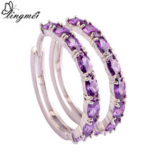 lingmei Hot Jewelry Amethyst White & Pink Topaz Morganite Black Spinel Ruby Spinel Ear Clip Hoop Silver Earrings Gift Wholesale(China (Mainland))