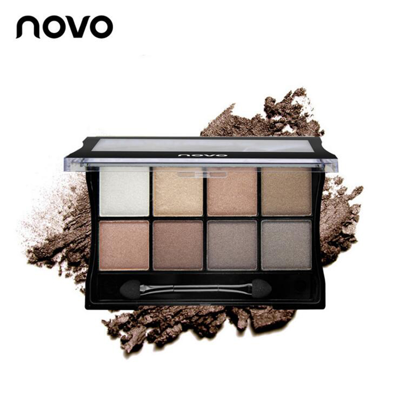 High quality NOVO 8 Different Professional 8 colors Eye Shadow beauty Matte Pigment Eyeshadow Palette Cosmetics base Makeup set(China (Mainland))
