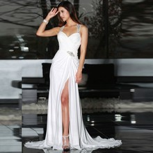 White Chiffon Front Silt Casual Style 2017 vestidos de noiva Backless Wedding Dresses Beach Bridal Gowns Court Train(China (Mainland))