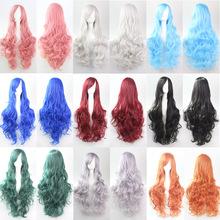 Подарки hairnet волны ролл волосы девушка женщина парики косы аниме косплей длинные волосы 18 цвета красный блондинка белый розовый синий черный парик